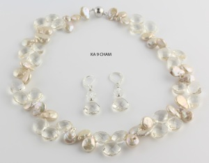 Champagne Coin Pearls and Crystal Necklace